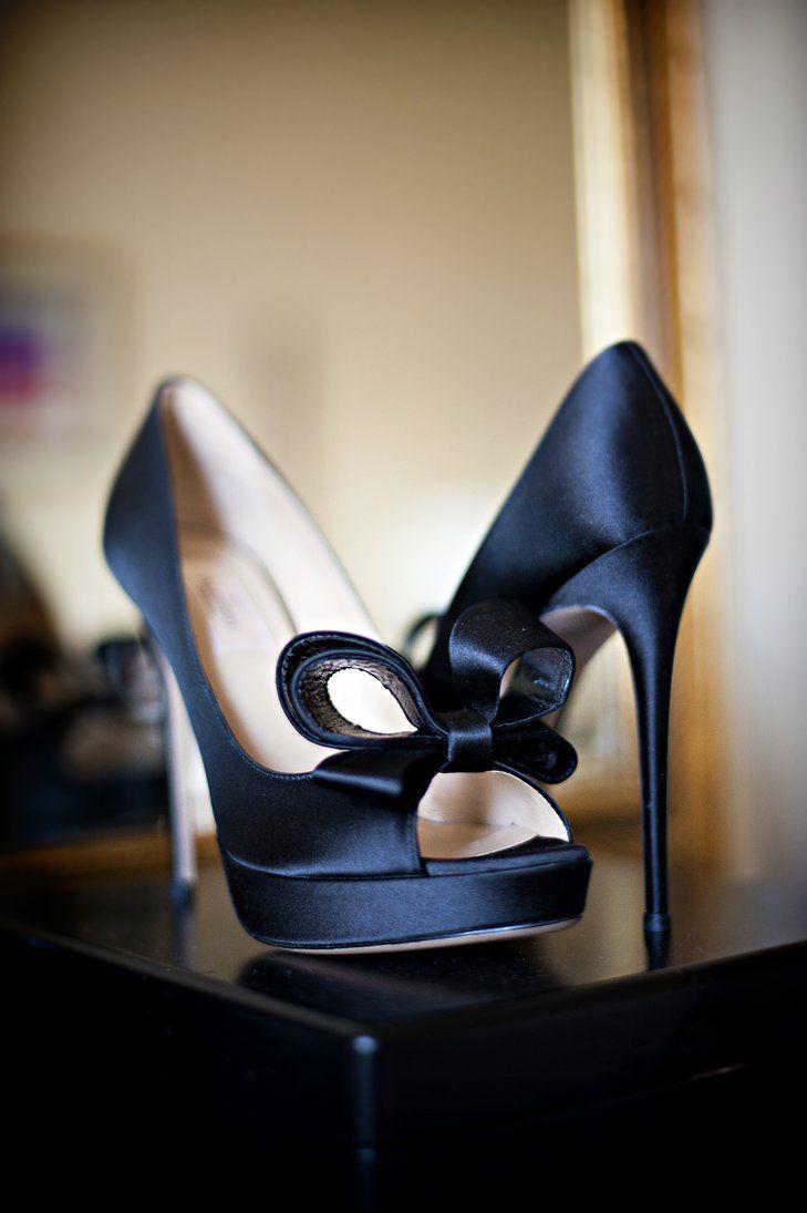 Dark blue valentino bridal shoes snap weddings