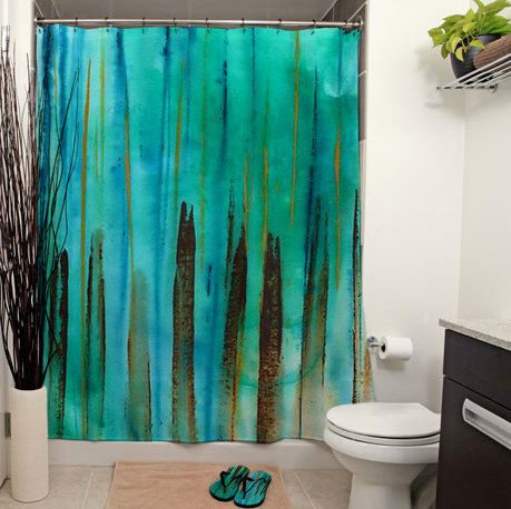 Beach fence shower curtain by janetanteparadesigns on etsy for Brown and turquoise bathroom ideas