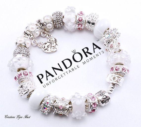 Bracelet PANDORA argent sterling avec charmes fête de maman ou ...