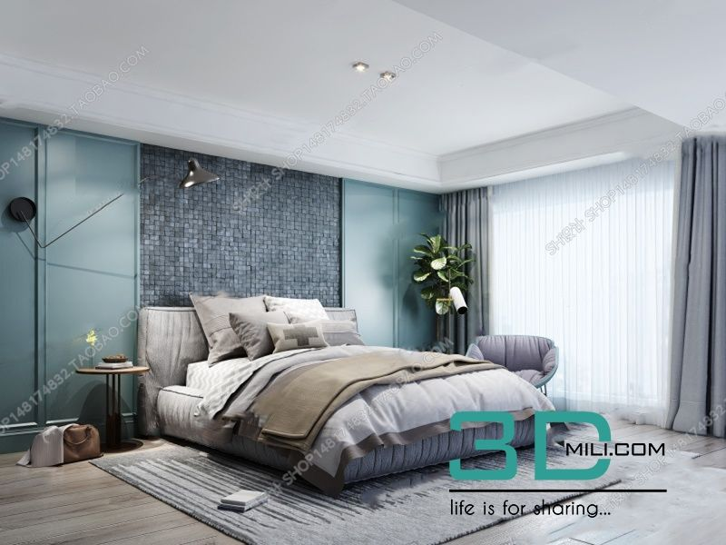 . SELL Album Bed Modern style 01   3D Mili   Download 3D Model   Free