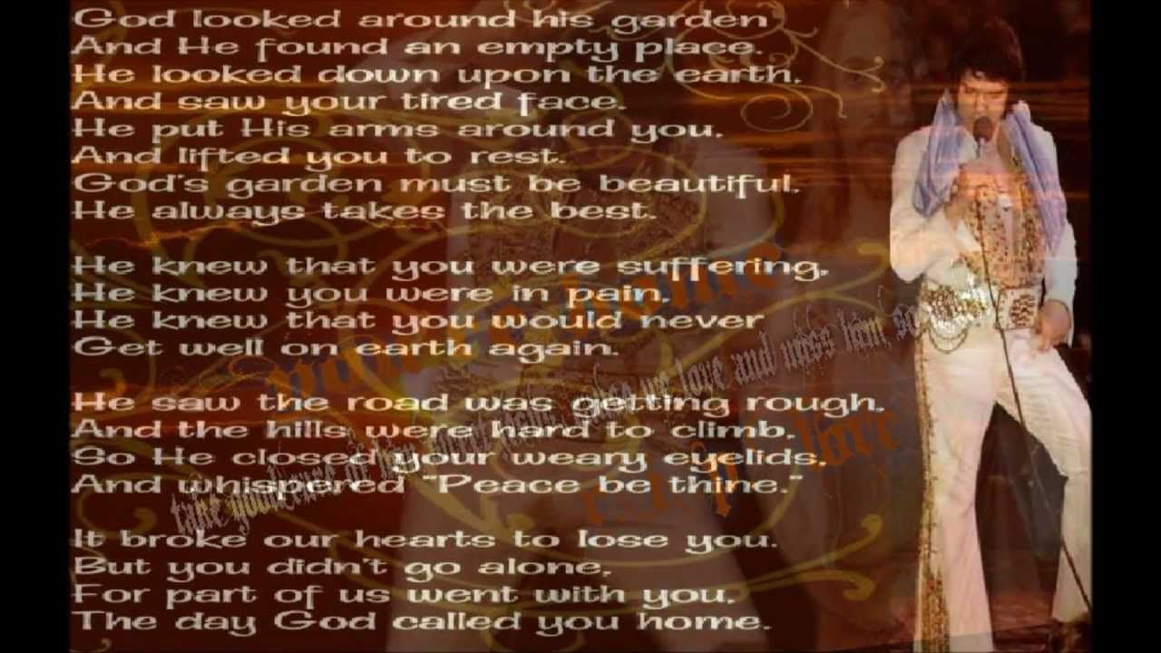Elvis Presley Take Me Home Precious Lord With Lyrics With Images