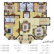 مخطط بيت شعبي House Floor Design House Design Pictures Square House Plans