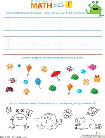 The Number 1 Preschool Math Introduction Worksheets Math And Number