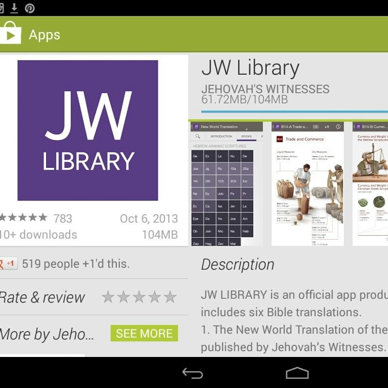 JW Library app is up and ready to be used- Apple will be