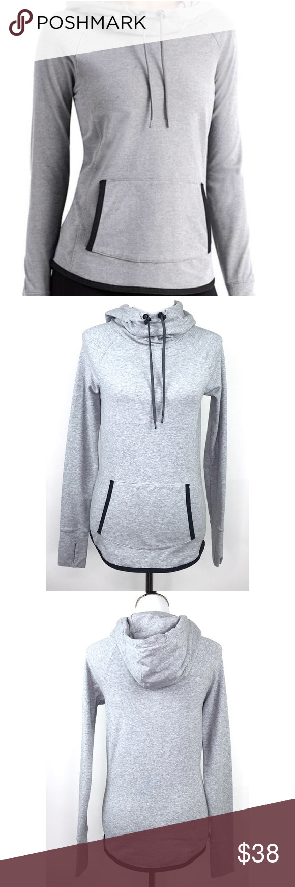 Athleta Sentry Hoodie Xxs Gray Cowl Neck Hoodies Grey Cowl Clothes Design [ 1740 x 580 Pixel ]