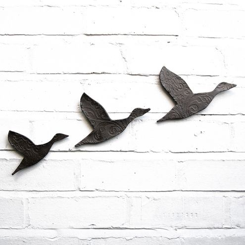 Flock Flying Ducks Set of Three Ceramic Wall Art in Metallic Graphite £49.00