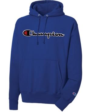 ea0ed42b3b19 Champion Men's Script-Logo Fleece Hoodie - Blue 2XL   Products in ...