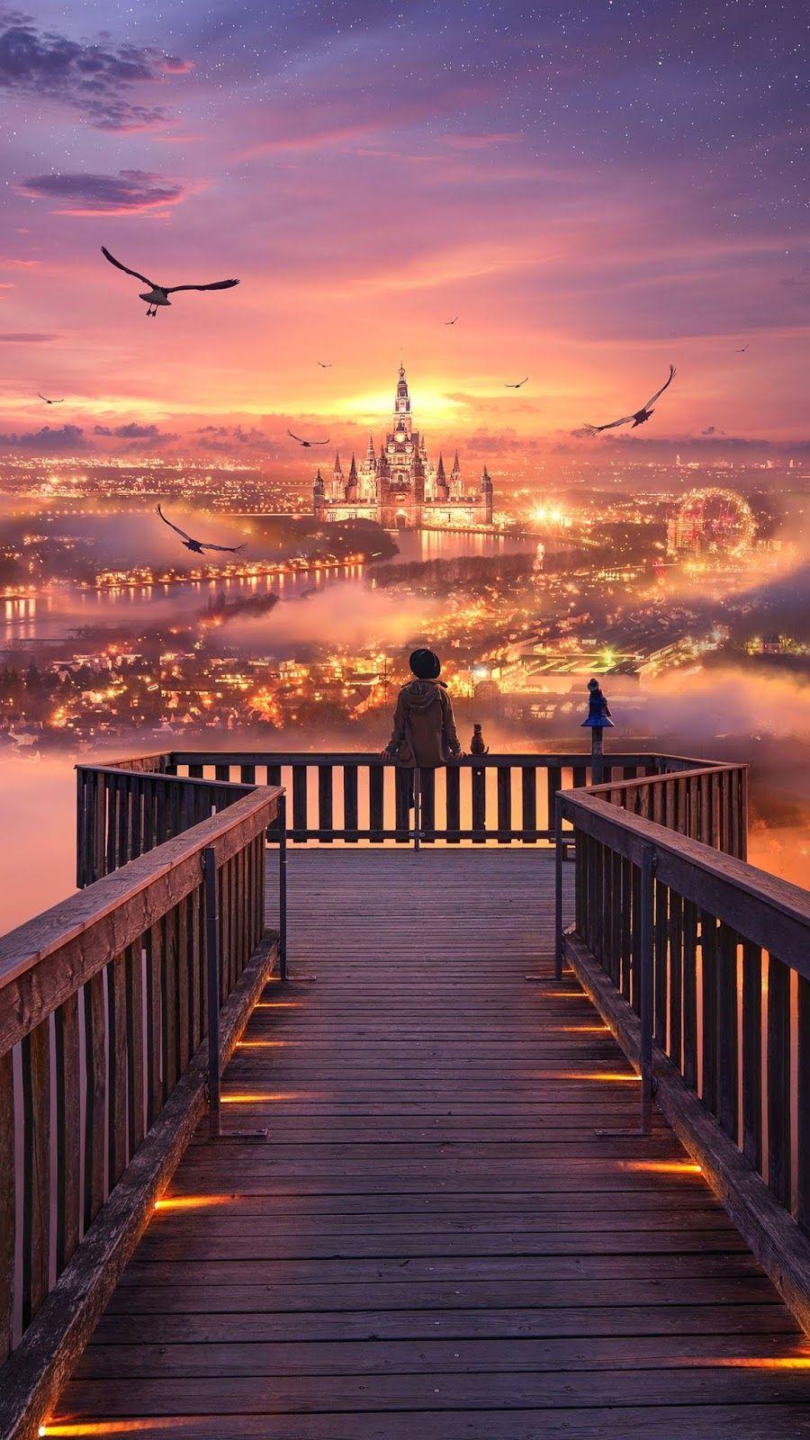 The City Of Dream Anime Scenery Wallpaper Scenery Wallpaper Anime Scenery
