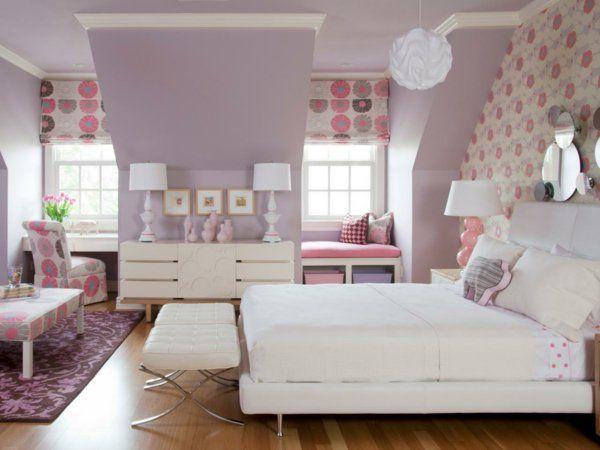 kinderzimmer gestalten mädchen helllila wandfarbe raffrollo - schlafzimmer farbig gestalten