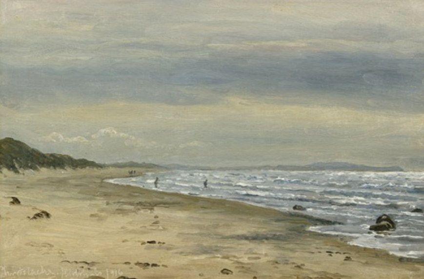 maleri af Christian Blache (1838–1920) Strandparti fra Hirtshals - med skyer på himlen - 1916