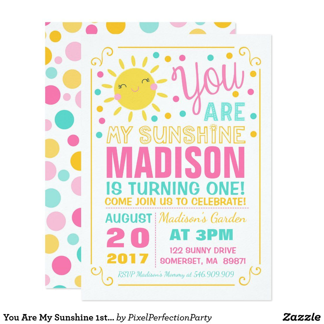 You Are My Sunshine 1st Birthday Party Invitation Zazzle