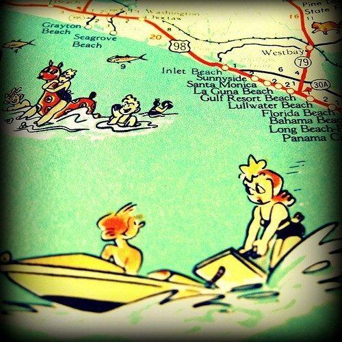 30a Seaside Seagrove Beach Grayton Vintage 60 S Map