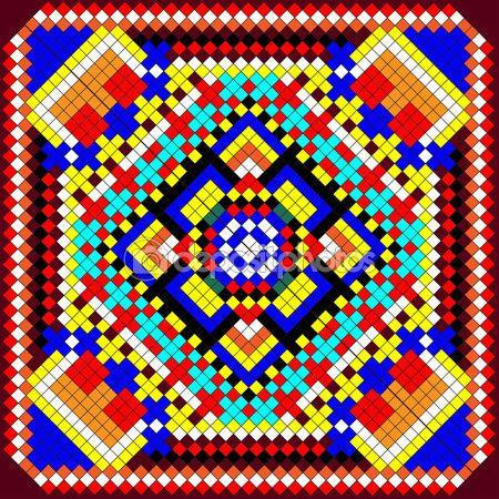Fondo mosaico de ornamentos geom tricos con cuadrados de colores mosaico cristal pinterest - Mosaico de colores ...