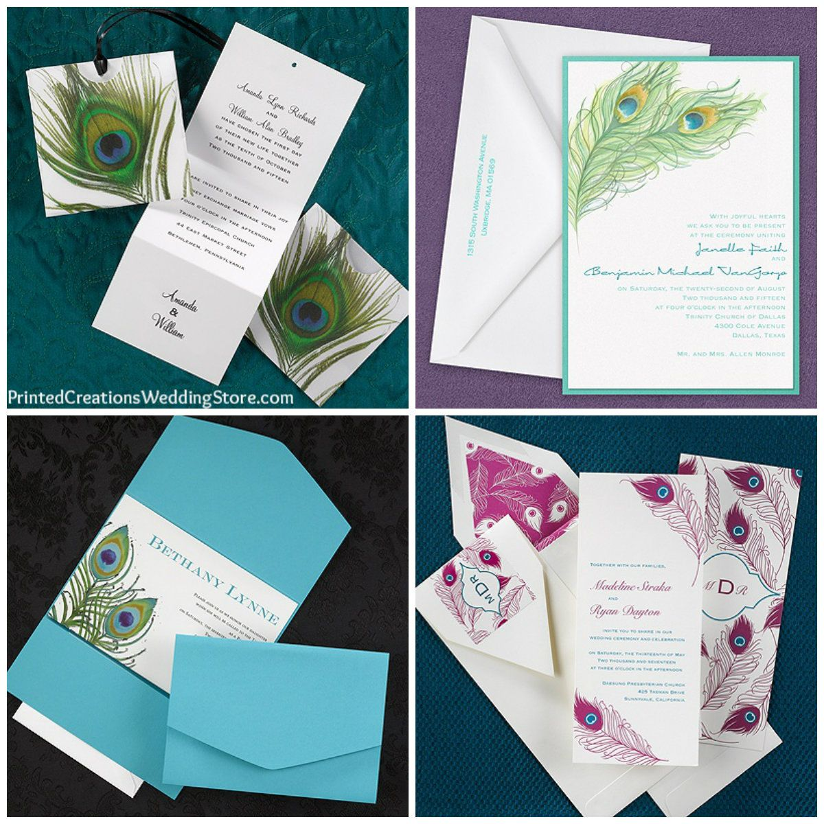 Carlson Craft Pocket Wedding Invitations: These Colorful Peacock Wedding Invitations And Several