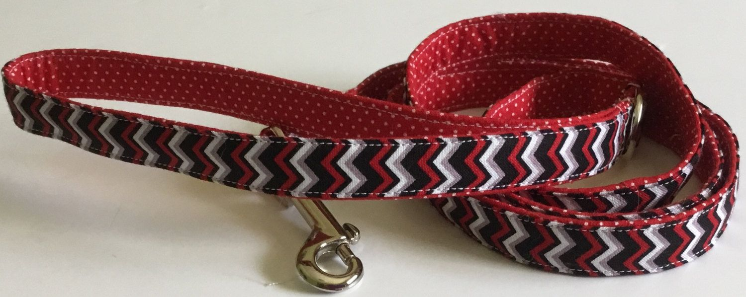 Red & Black Chevron Leash with Polka Dots for Female and Male Dogs by…