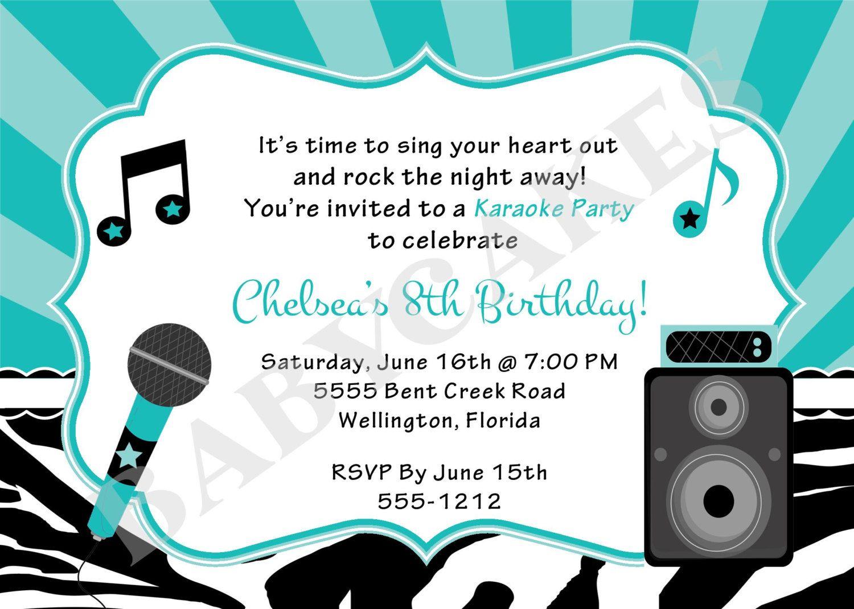 Karaoke party birthday invitation invite karaoke birthday karaoke karaoke party birthday invitation diy print your by jcbabycakes filmwisefo Images