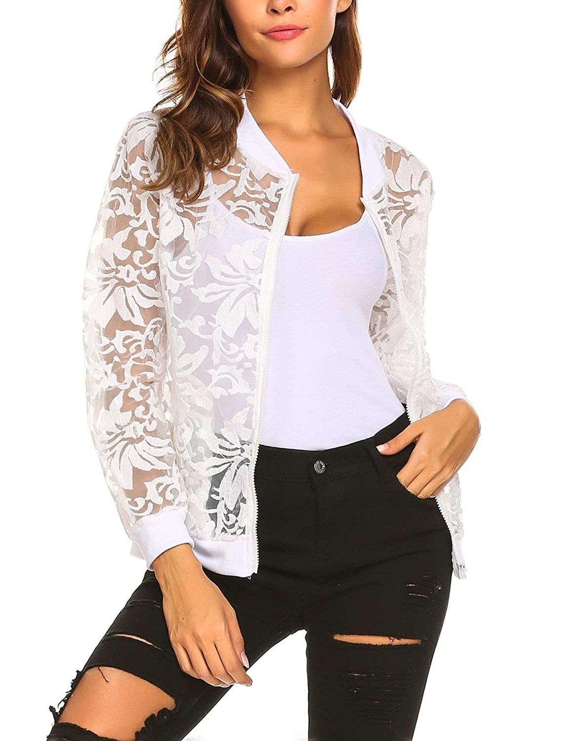 34f37936ddc389 Women s Long Sleeve Stand Collar Zip Up Sheer Floral Organza Sexy Casual  Bomber Jacket - Pattern