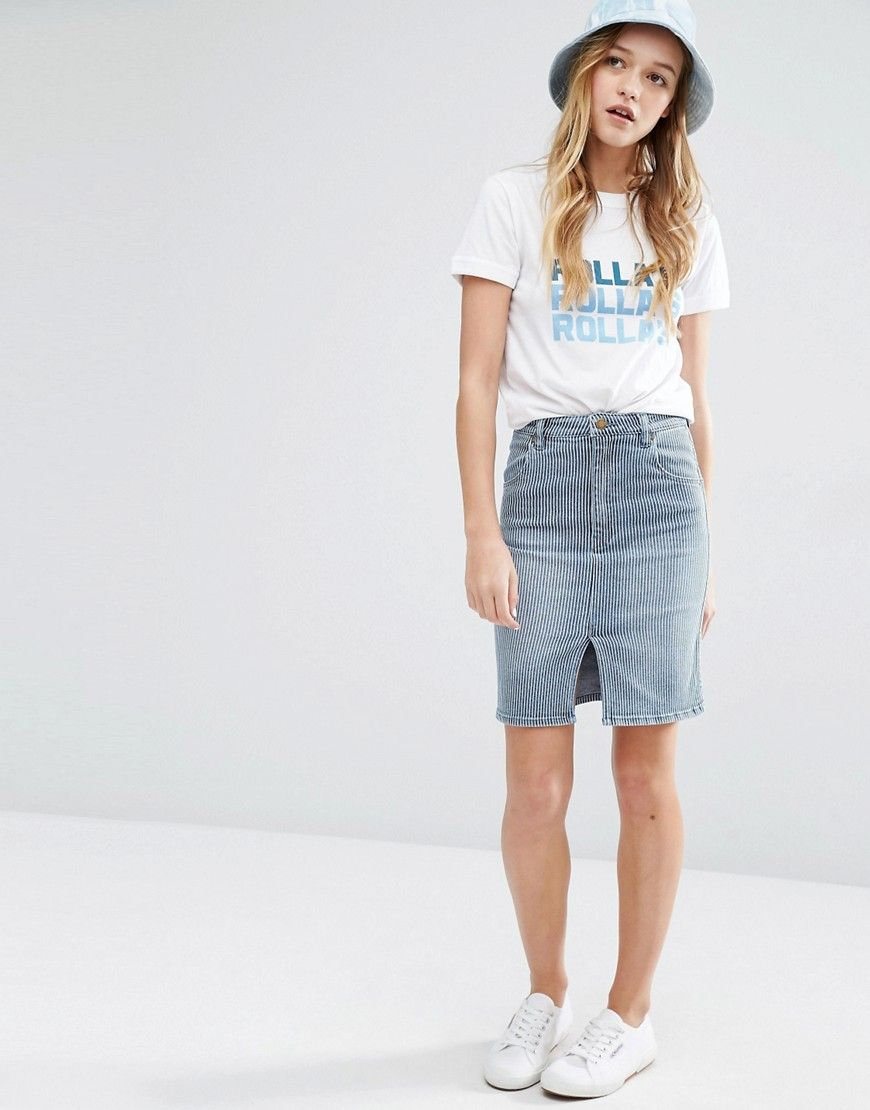Rolla s - Jupe fourreau en jean à rayures   Mode   Inspiration 2 ... 64f67694aec1