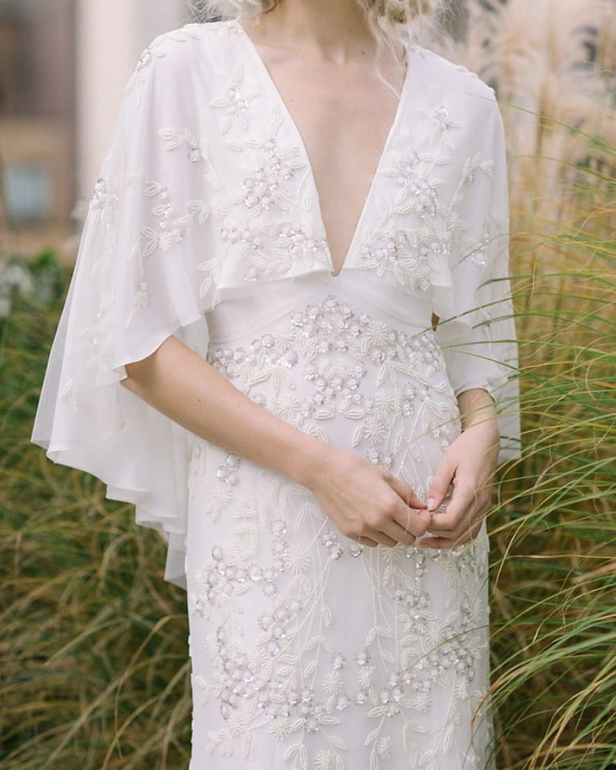Wedding Dress Cape Day Dresses Dressses Brokat Rings