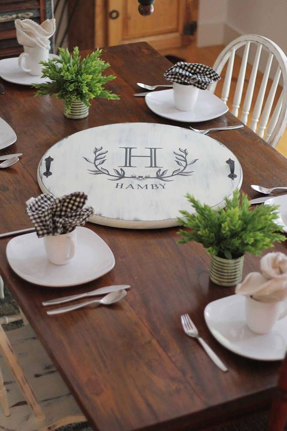 Customized Lazy Susan 24 Diameter This 24 Lazy Susan Offers Farmhouse Style And Functionality As Wel Lazy Susan Farmhouse Dining Table Dining Table Decor