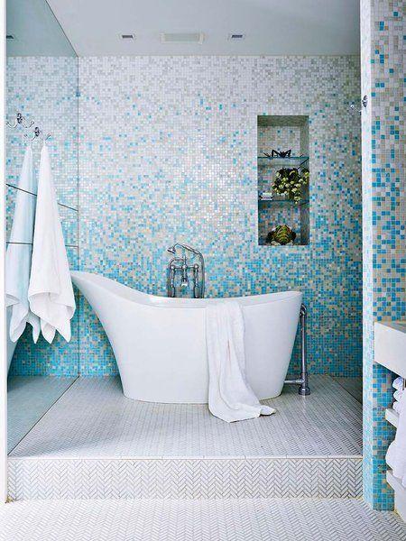 40 propuestas para decorar con azulejos tu ba o ba os - Azulejos mosaico bano ...