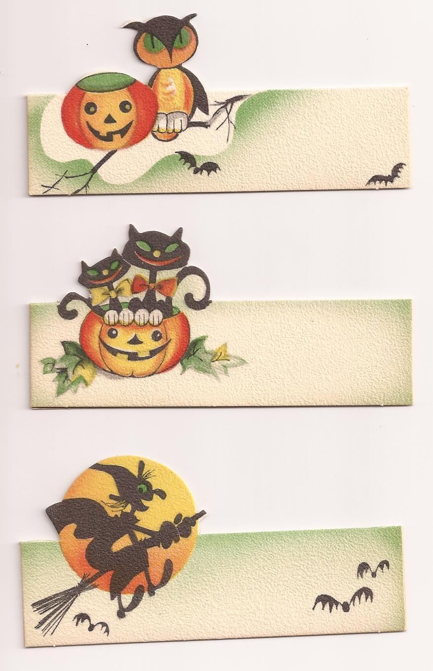 Details about 3 VINTAGE 1950's Gibson HALLOWEEN Party Place Cards ...