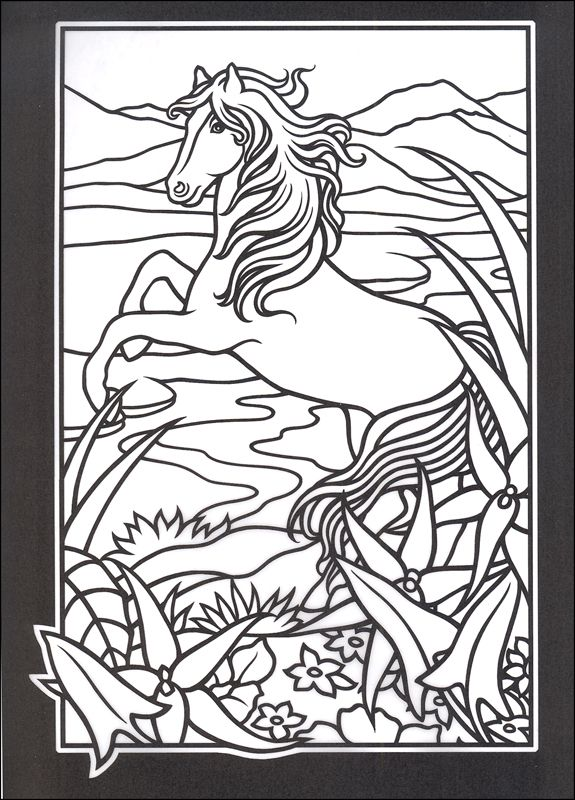 Stained Glass Windows To Color Wild Horses Stained Glass Coloring Book Additional Photo Inside Horse Coloring Pages Horse Coloring Coloring Pages