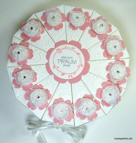 """Geldgeschenke - Hochzeitstorte Papiertorte """"Tüllblüten"""" Kirsch - ein Designerstück von Stempelitis bei DaWanda"""