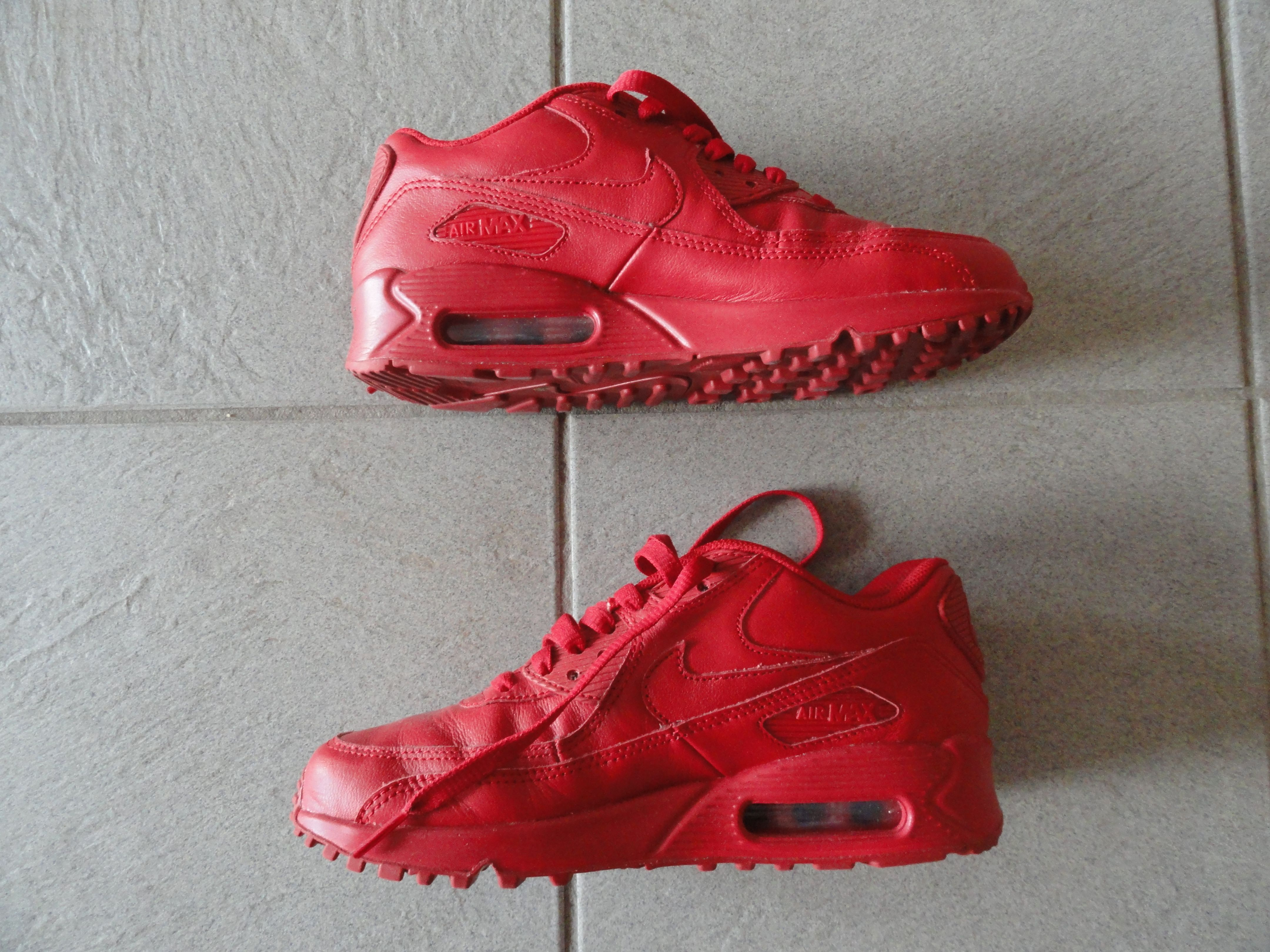 Nike Air Max 90 id university red leather sneakers my design