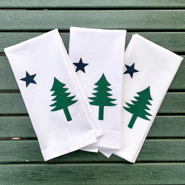 Maine Flag Gift for Her Maine Flag 1901 Maine Flag Gift Original Maine Flag Tea Towel Maine Flag Flour Sack Towel Maine Made Gift