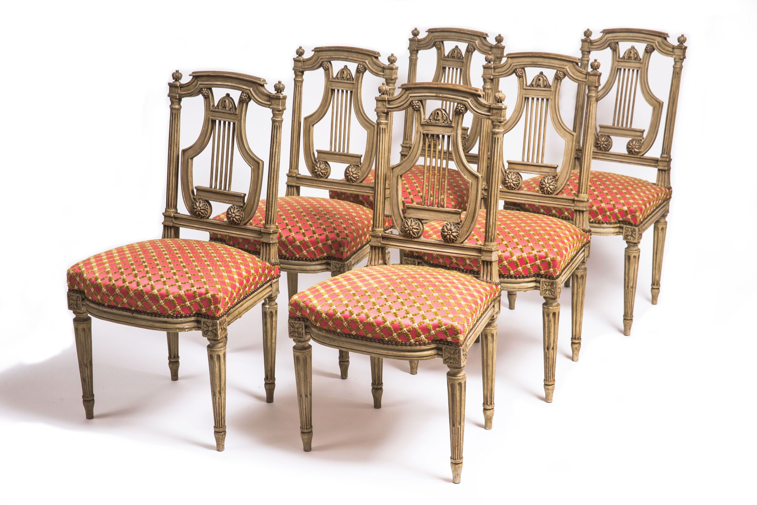 Set of 6 19th century French decorated Louis XVI dining chairs in