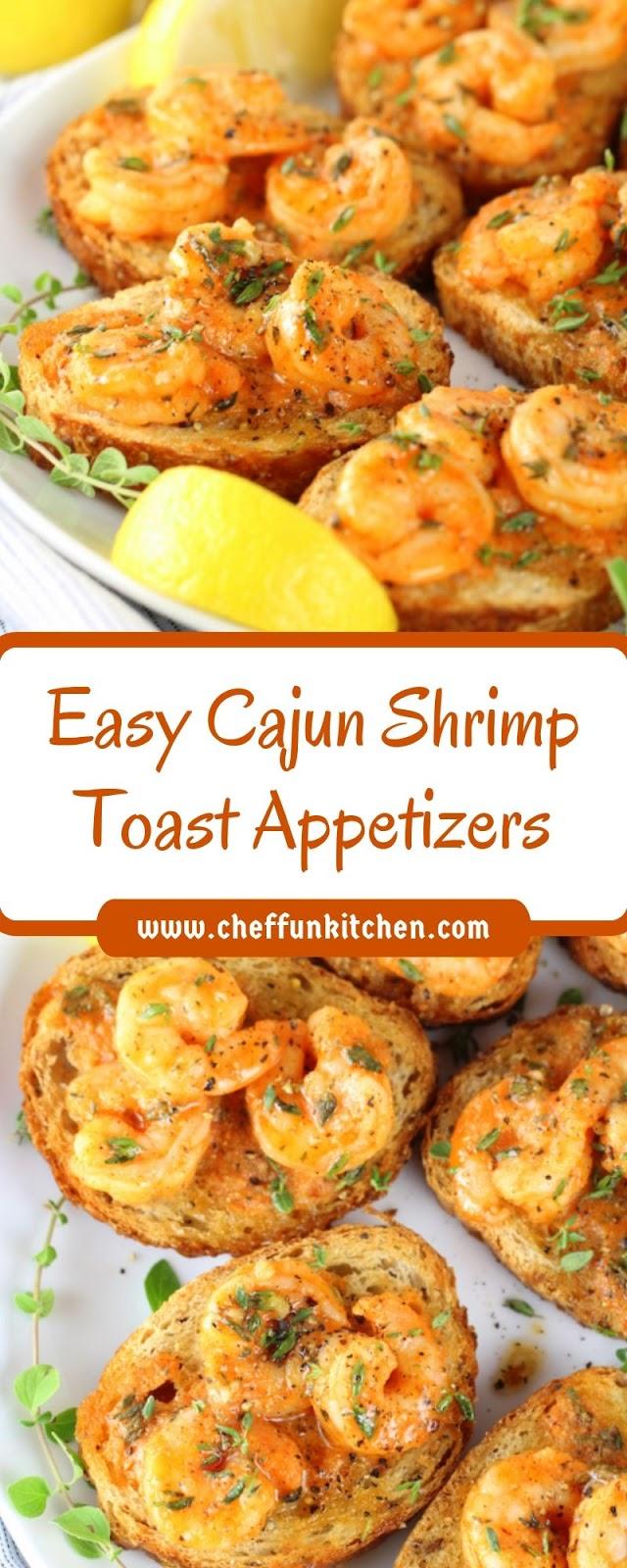 Easy Cajun Shrimp Toast Appetizers #cajunandcreolerecipes