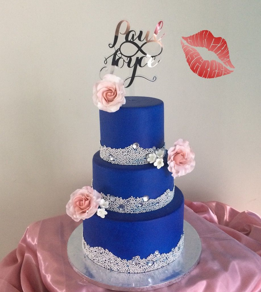 Wedding Cake Ideas Royal Blue: Royal Blue And Silver Cake Made By Cupcakemistressph