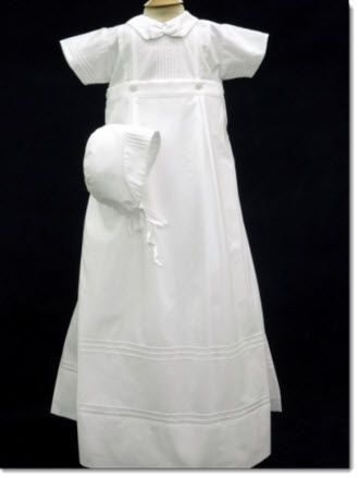 34196fcdf82ef Boys Christening Romper /Skirt 07016 Boy Christening gown in 100% cotton,  with rows