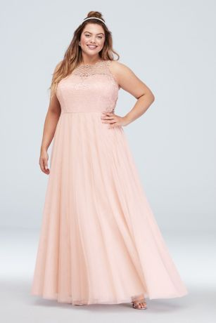 glitter lace plus size gown with geometric panels  david