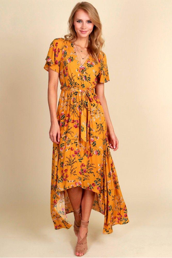 Flirty in Floral Midi Dress Mustard