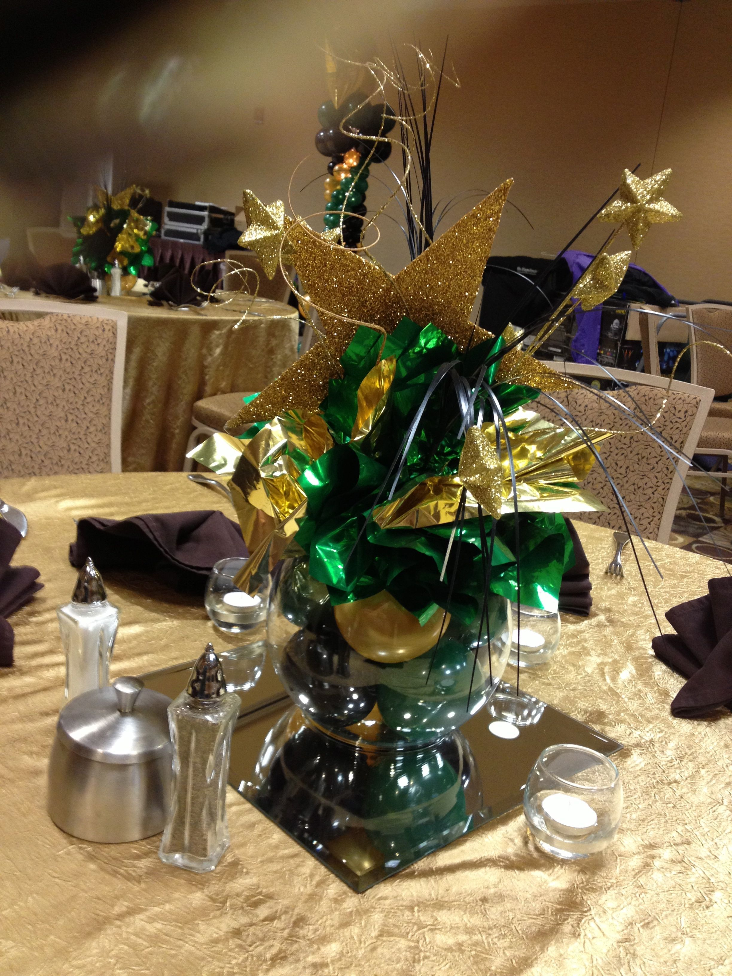 Star Themed Bubble Bowl Centerpiece In Green Black And Gold This