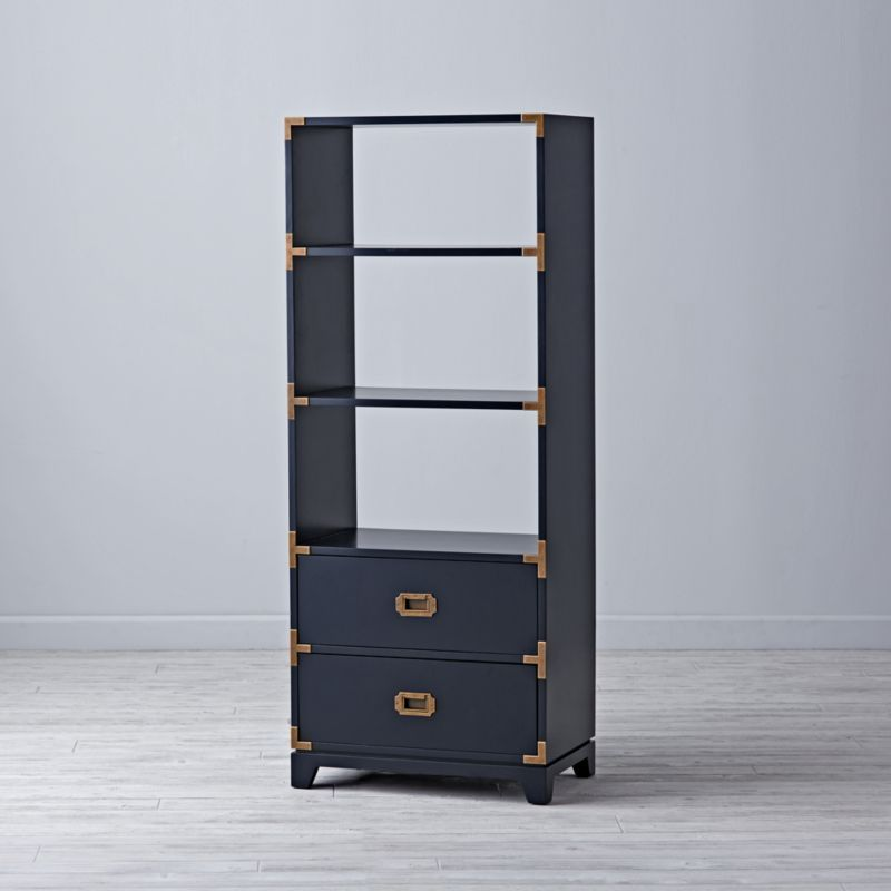 Navy Campaign Bookcase Reviews Crate And Barrel In 2020 Bookcase Bookcase With Drawers Campaign Desk