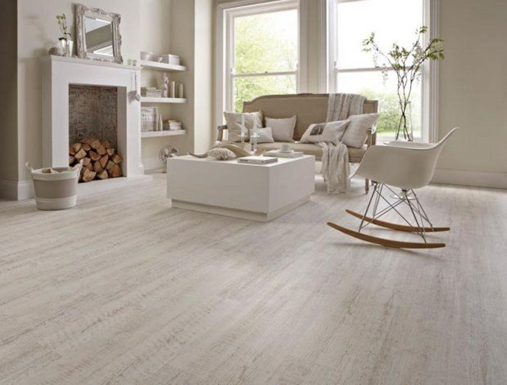 Karndean White Painted Oak Knight Tile Vinyl Flooring Features A Chalky Wood Effect Stripped Down To Reveal Beige Undertones