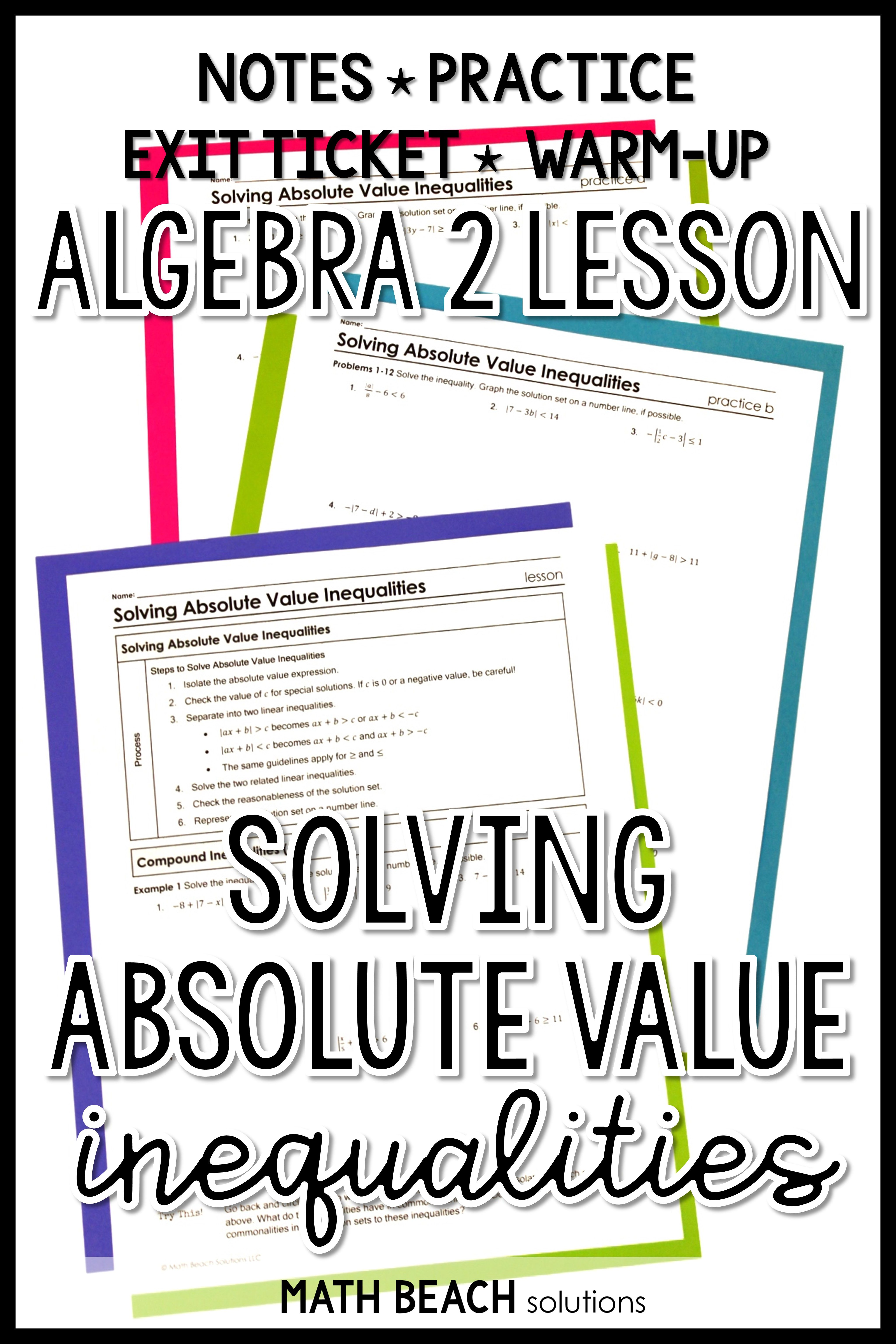 Solving Absolute Value Inequalities Lesson Absolute Value Inequalities Absolute Value Algebra Worksheets