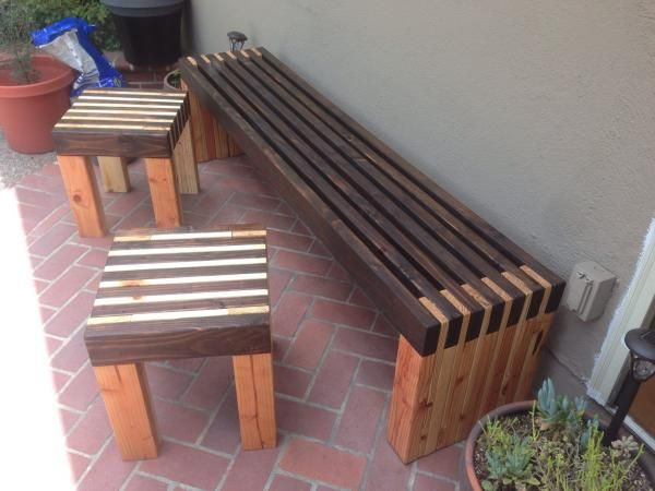Modern Slat Bench And Side Tables Diy Wood Bench Outdoor