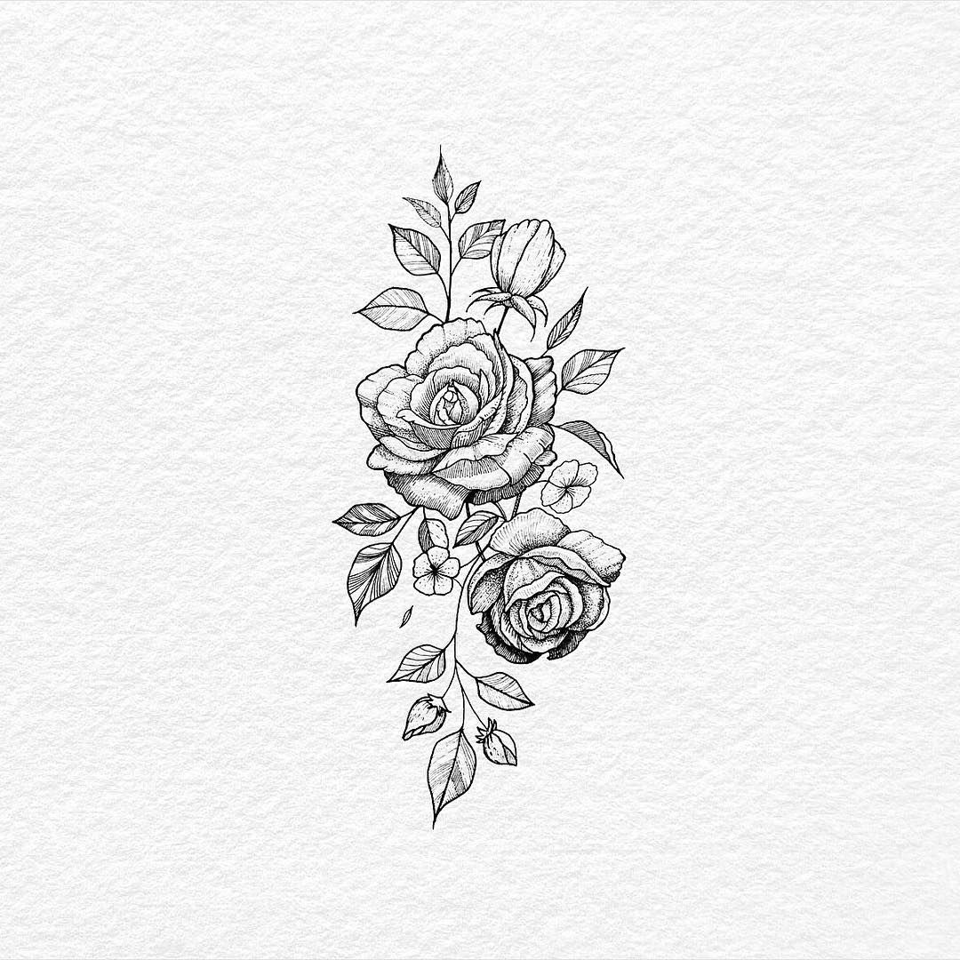 1000drawings By Bachtz Rose Flower Tattoos Tattoos Rose Tattoo On Hip
