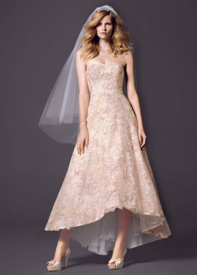Oleg Cassini High Low Colored Lace Wedding Dress Style CWG617