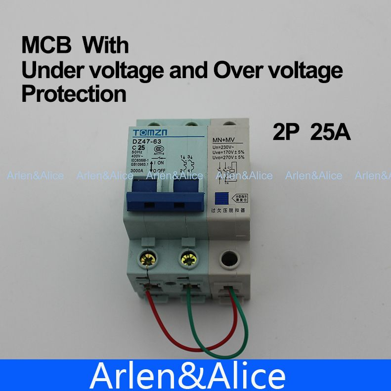 2p 25a 400v 50hz 60hz Mcb With Over Voltage And Under Voltage Protection Mini Circuit Breaker Mn Mv Protection Breakers Circuit