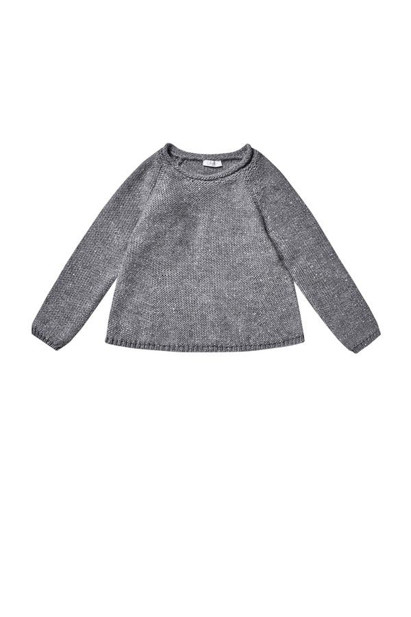 GREY SEQUINNED SWEATER - girl 2-14   Il Gufo