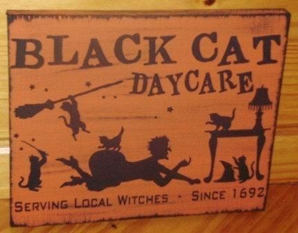 black cats daycare sign primitive halloween witch decorations witchcraft magic kittens whimsical pagans witches samhain folk - Black Cat Halloween Decorations