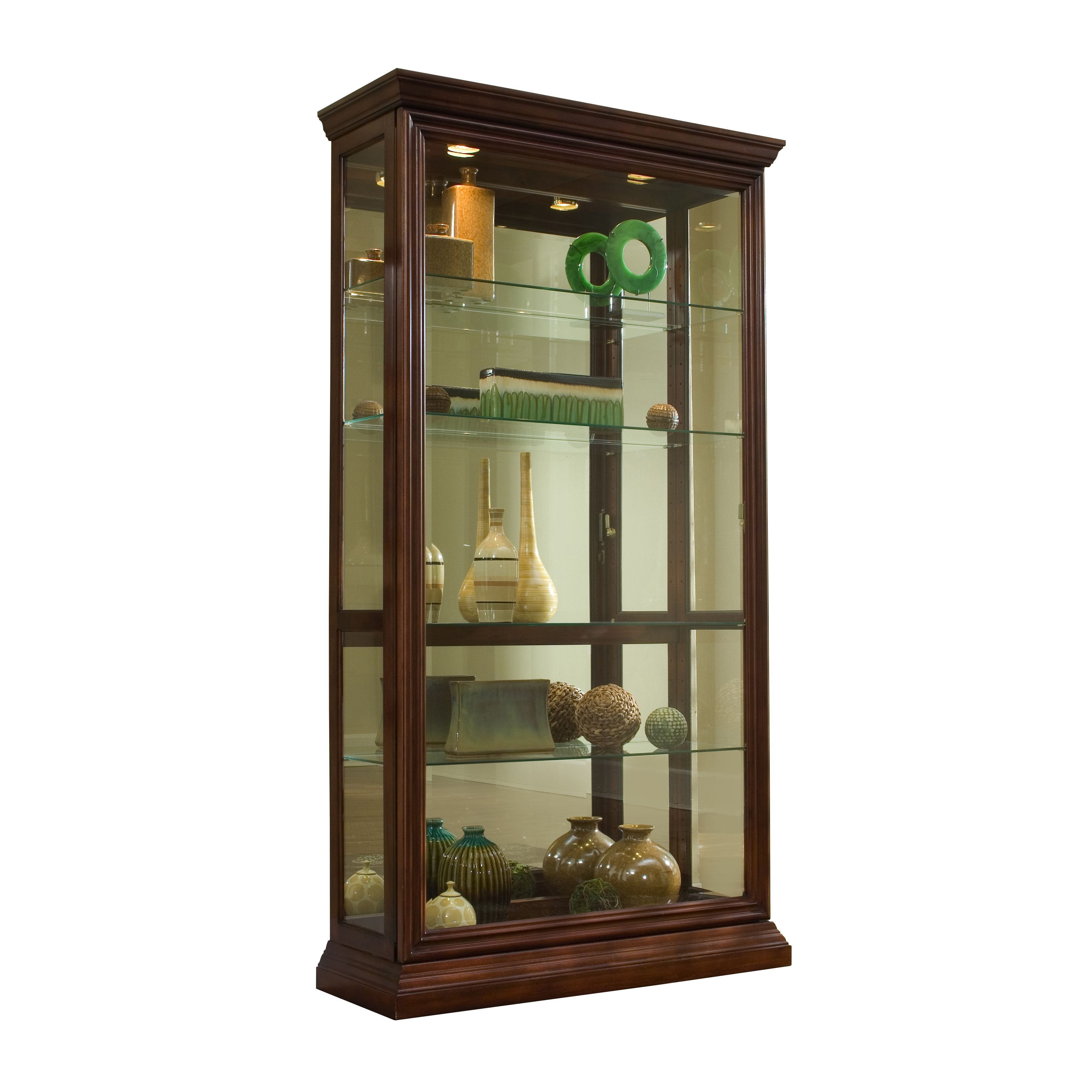 Medium Brown Finish Two Way Sliding Door Curio Cabinet (Curio Cabinet)