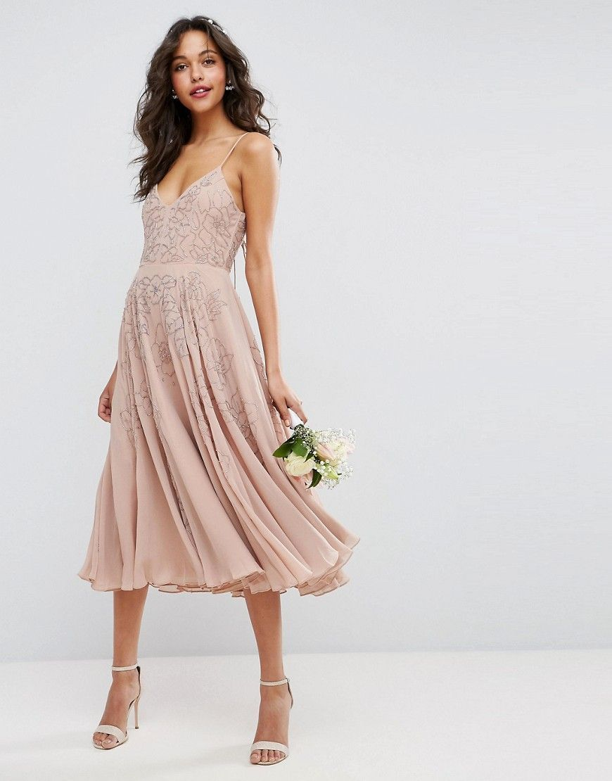 asos wedding embellished cami strappy midi dress  beige