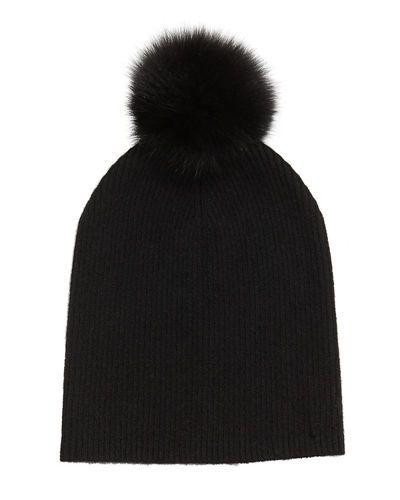 cad1560414c58 Sofia Cashmere Cashmere Slouchy Hat w Fur Pom Pom