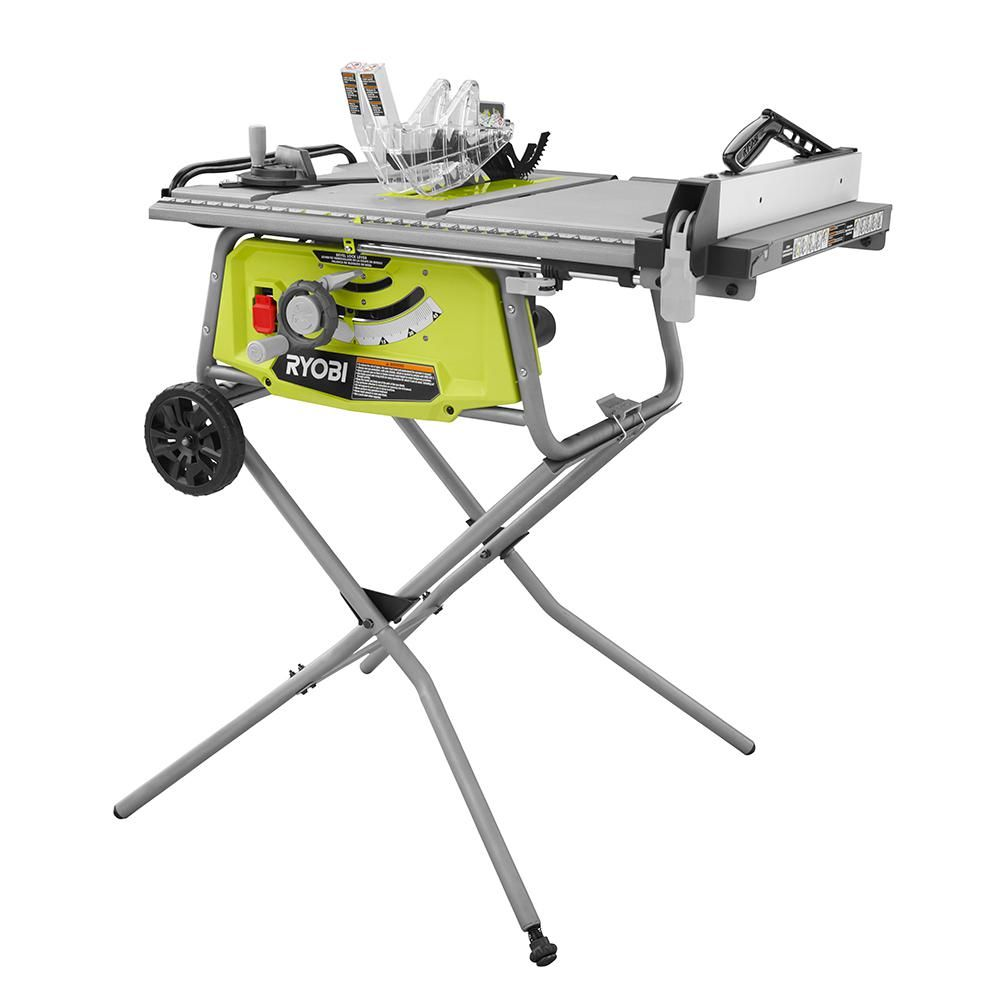 Ryobi 10 In Table Saw With Rolling Stand Portable Table Saw